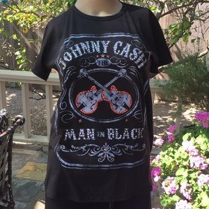 Johnny Cash Man in Black Crystal Studded T-Shirt